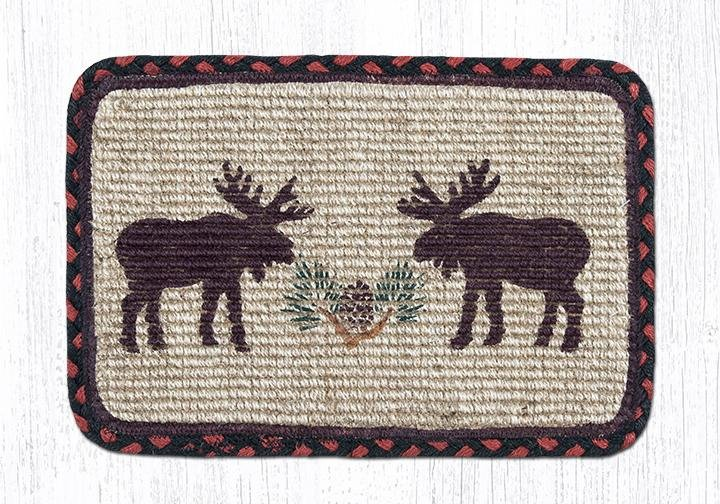 "Moose/Pinecone Wicker Weave Braided Table Runner 13""x36"""