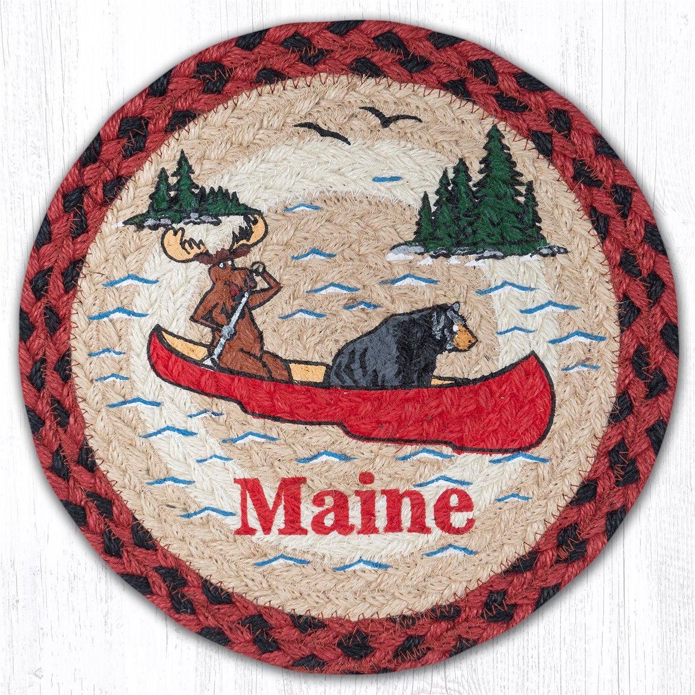 """Moose Rowing Printed Round Braided Trivet 10""""x10"""""""