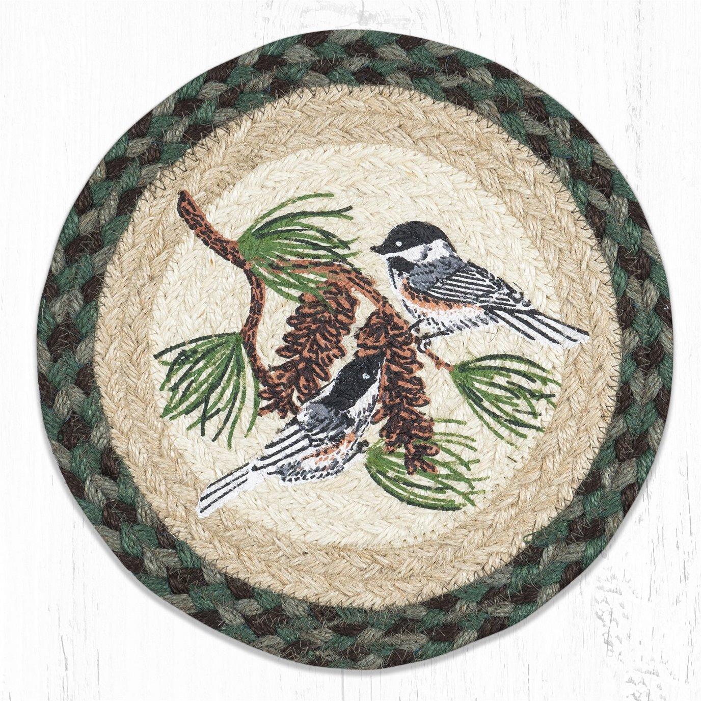 "Chickadee Pinecone Printed Round Braided Trivet 10""x10"""