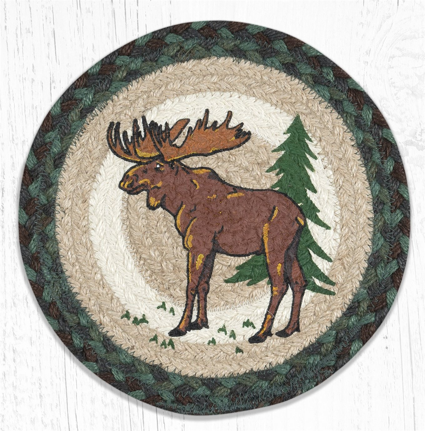 "Highland Moose Printed Round Braided Trivet 10""x10"""
