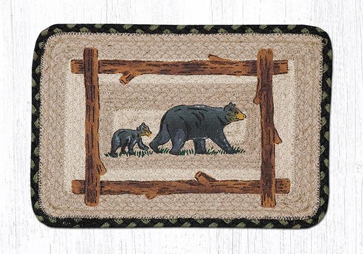 "Mama & Baby Bear Square Printed Braided Trivet 10""x10"""