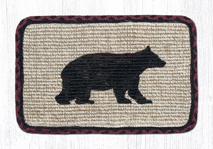 """Cabin Bear Wicker Weave Braided Table Runner 13""""x36"""""""