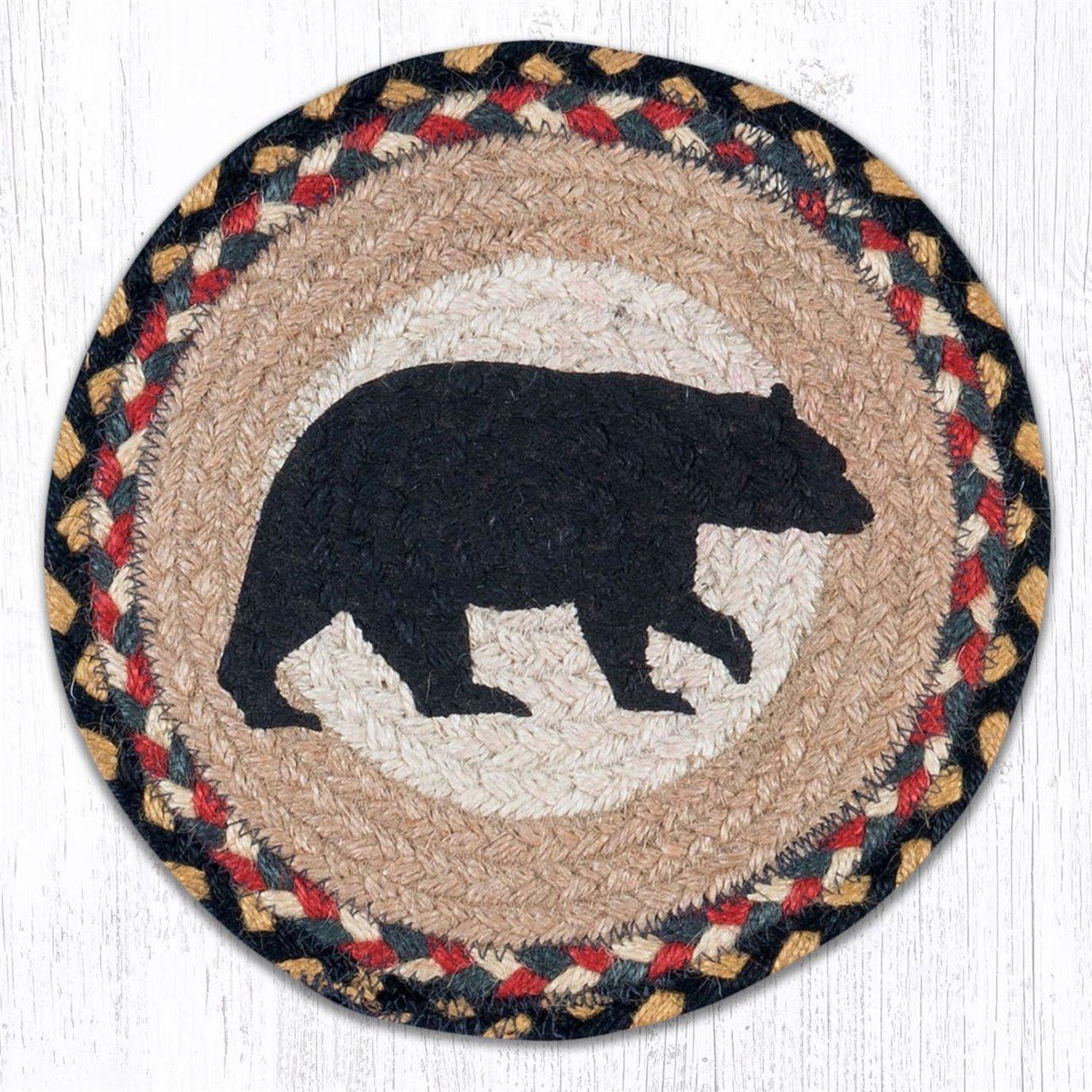 "American Bear Printed Round Braided Trivet 10""x10"""
