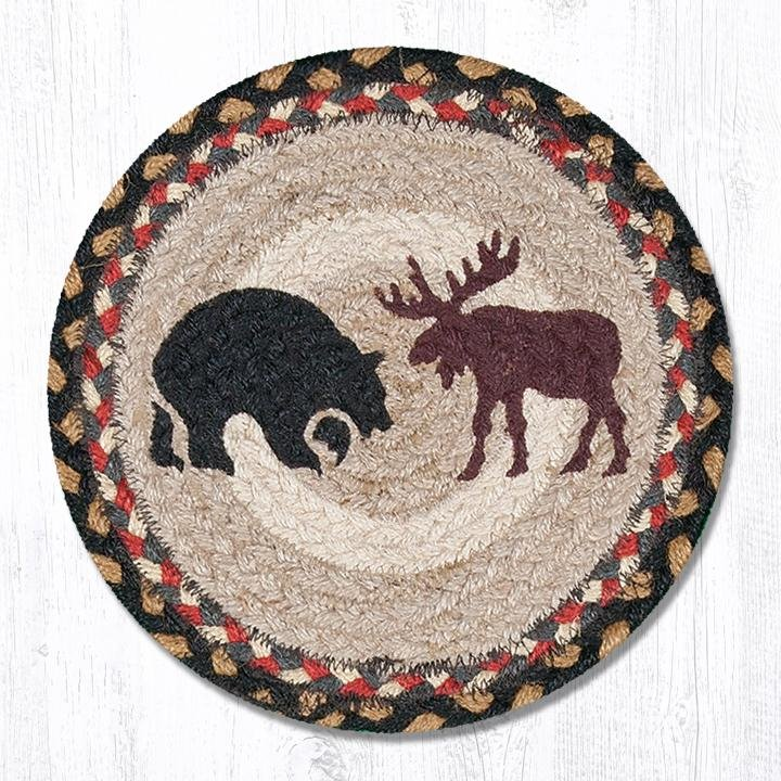 "Bear/Moose Printed Round Braided Trivet 10""x10"""