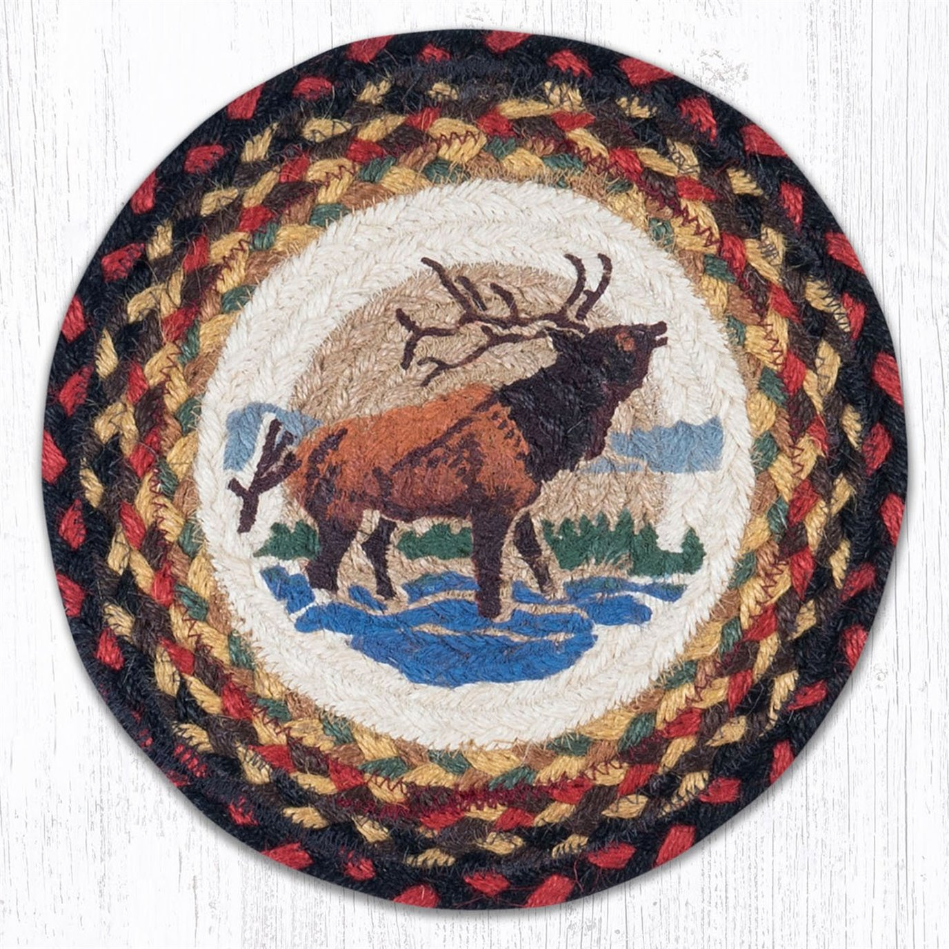 """Winter Elk Printed Round Braided Trivet 10""""x10"""""""