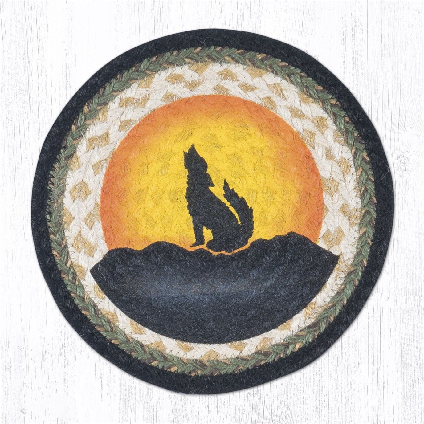 """Coyote Silhouette Printed Round Braided Trivet 10""""x10"""""""