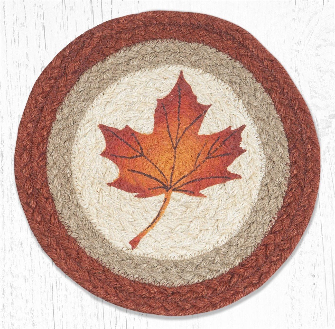 "Maple Leaf Printed Round Braided Trivet 10""x10"""