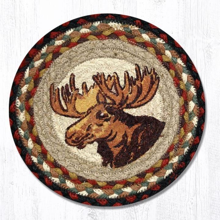 "Moose Portrait Printed Round Braided Trivet 10""x10"""