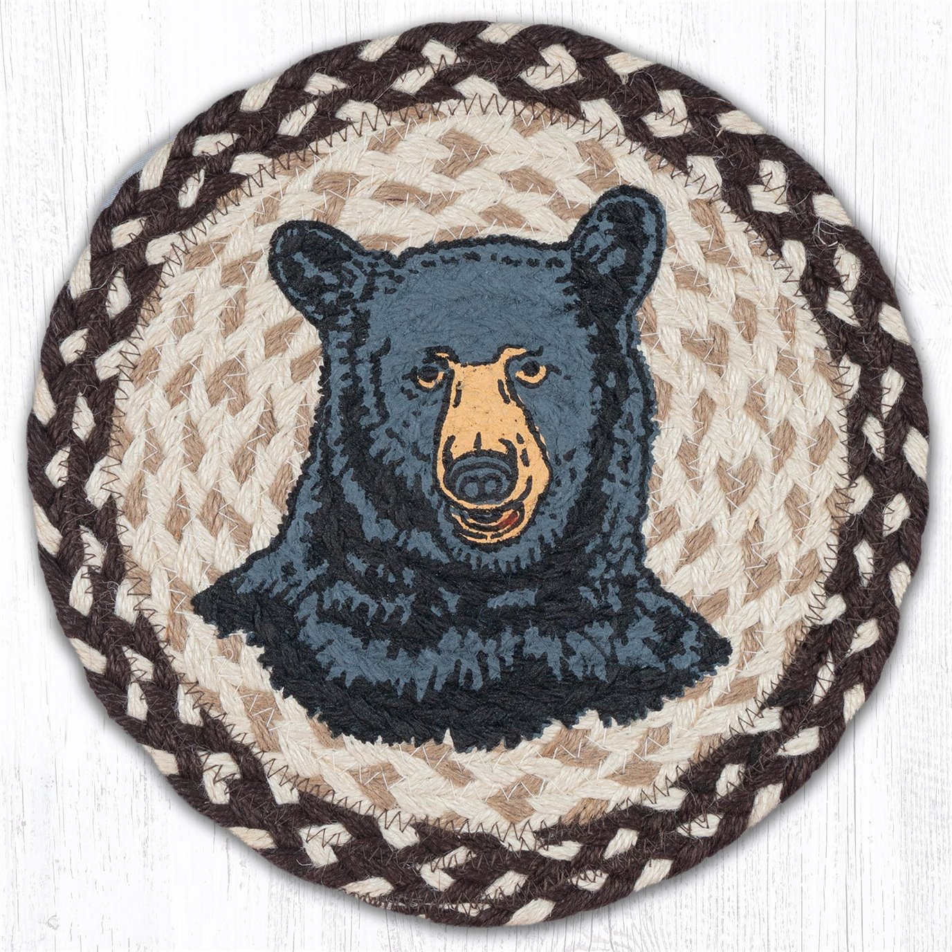 "Bear Printed Round Braided Trivet 10""x10"""