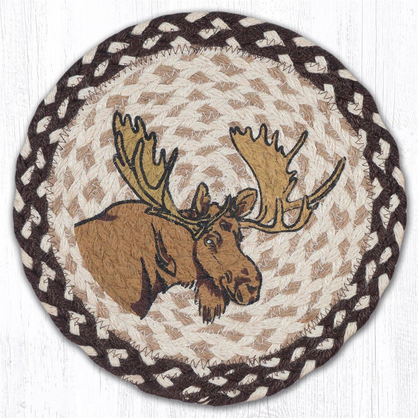 "Moose Printed Round Braided Trivet 10""x10"""