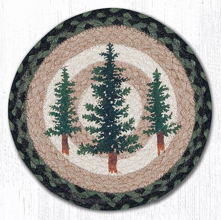 "Tall Timbers Printed Round Braided Trivet 10""x10"""