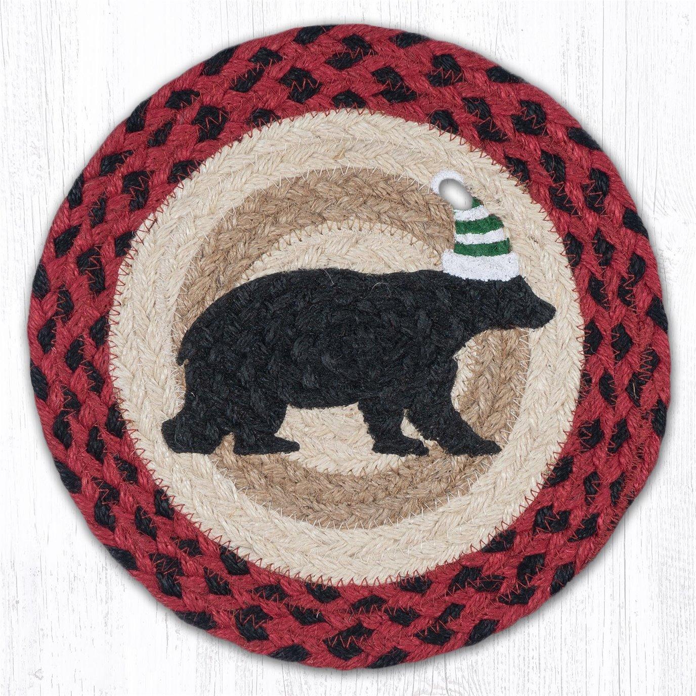 "Bear Green Stripe Hat Printed Round Braided Trivet 10""x10"""