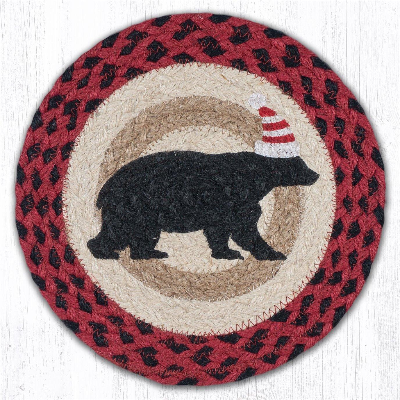 "Bear Red Stripe Hat Printed Round Braided Trivet 10""x10"""