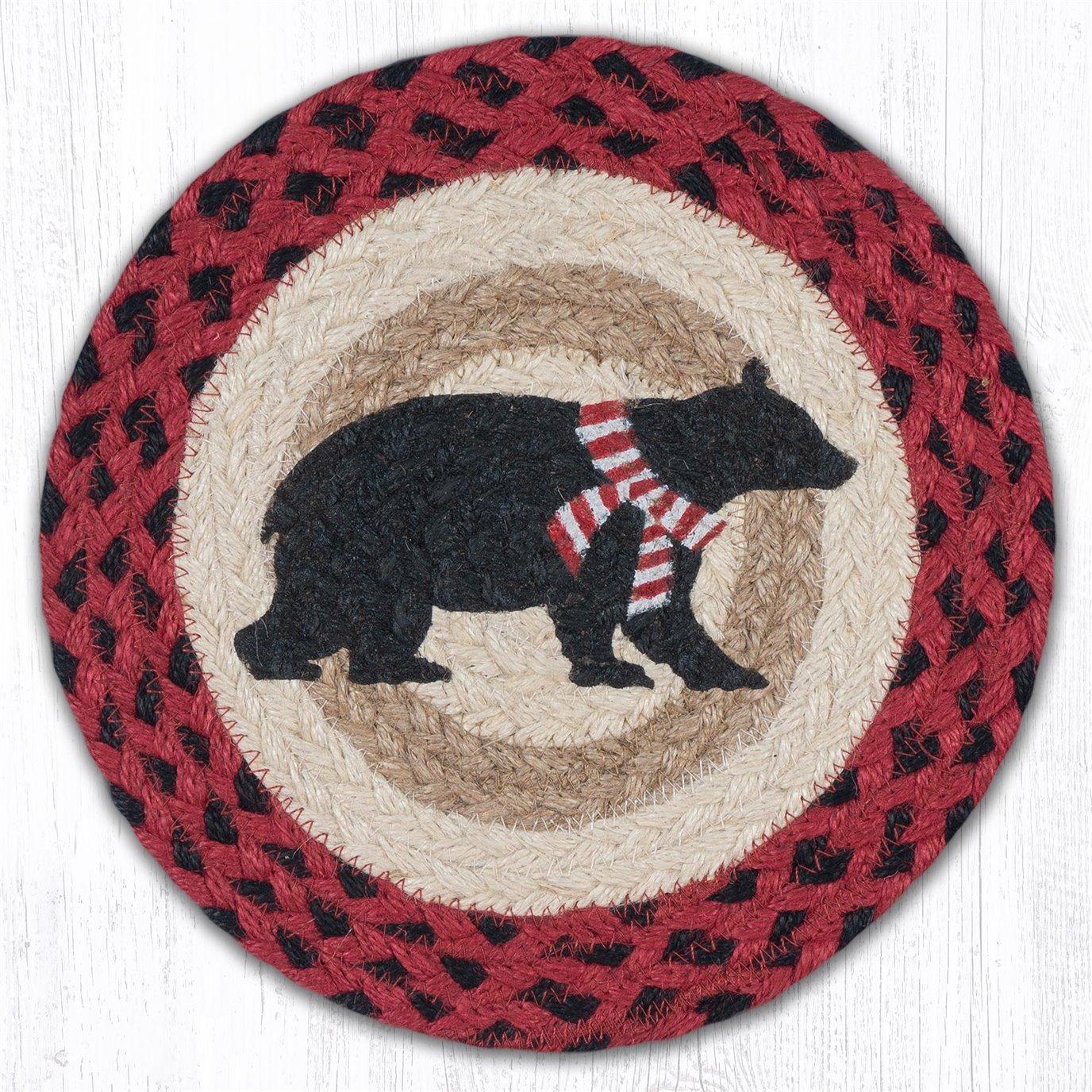 "Bear Red Stripe Scarf Printed Round Braided Trivet 10""x10"""