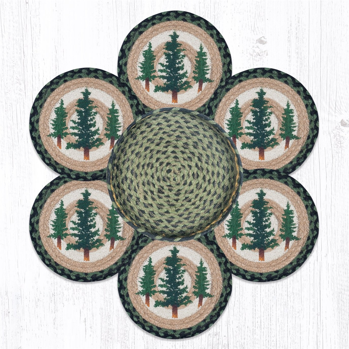 """Tall Timbers Braided Trivets in a Basket 10""""x10"""", Set of 6"""
