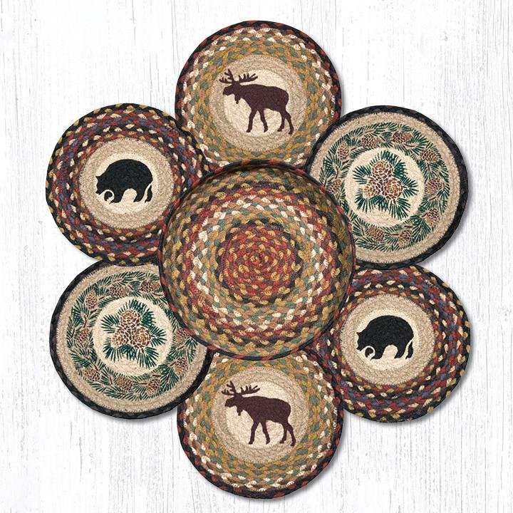 """Wilderness Braided Trivets in a Basket 10""""x10"""", Set of 6"""