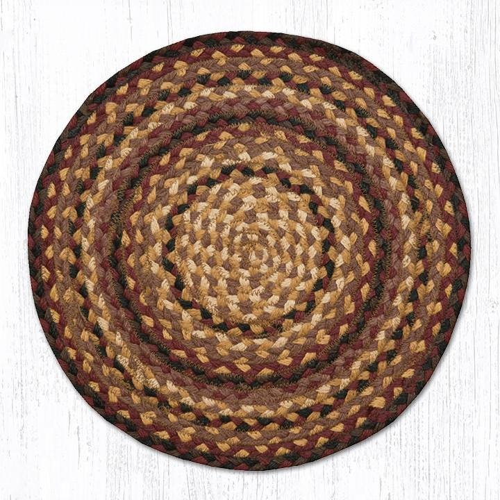 "Black Cherry/Chocolate/Cream Jute Braided Chair Pad 15.5""x15.5"""
