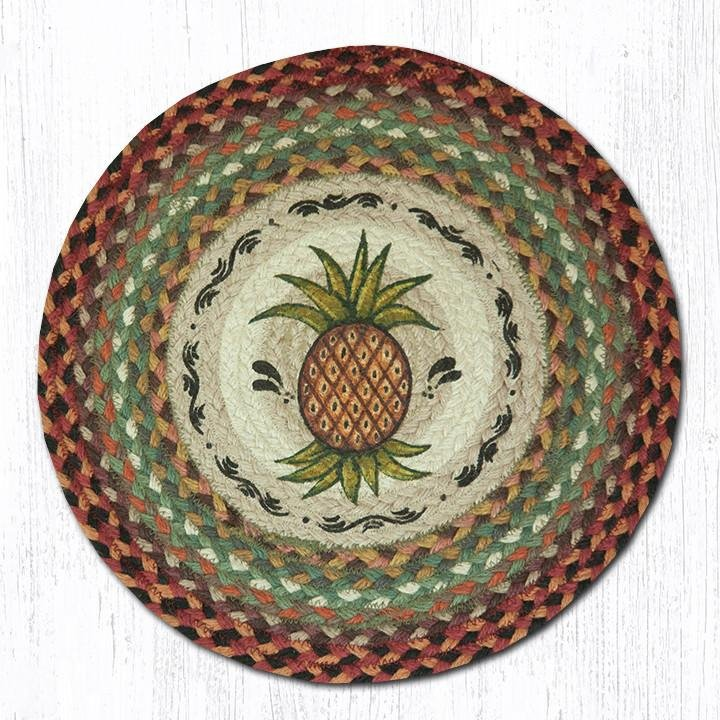 "Pineapple Round Braided Chair Pad 15.5""x15.5"""