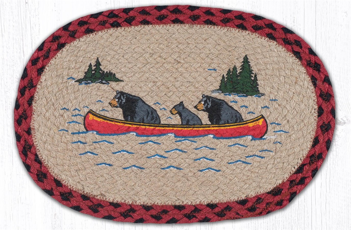 """Bears in Canoe Printed Oval Braided Swatch 10""""x15"""""""