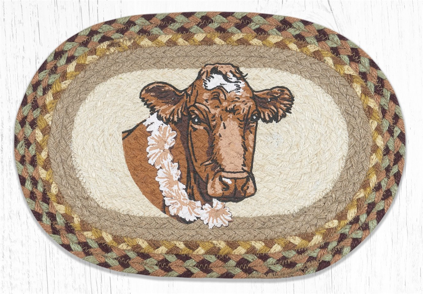 """Cow Flower Printed Oval Braided Swatch 10""""x15"""""""