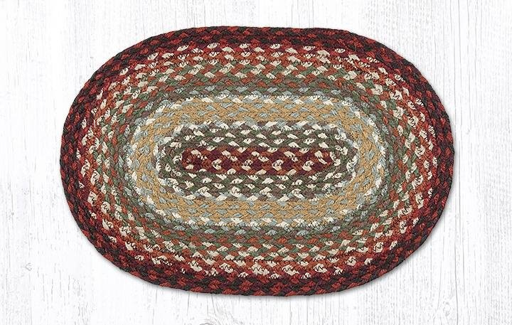 """Thistle Green/Country Red Oval Braided Swatch 10""""x15"""""""