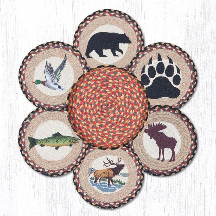 """Wildlife Braided Trivets in a Basket 10""""x10"""", Set of 6"""
