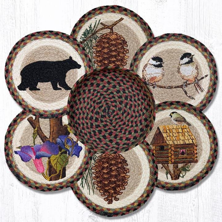 "Cabin Bear Braided Trivets in a Basket 10""x10"", Set of 6"