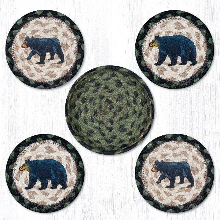 """Mama & Baby Bear Braided Coasters in a Basket 5""""x5"""" Set of 4"""