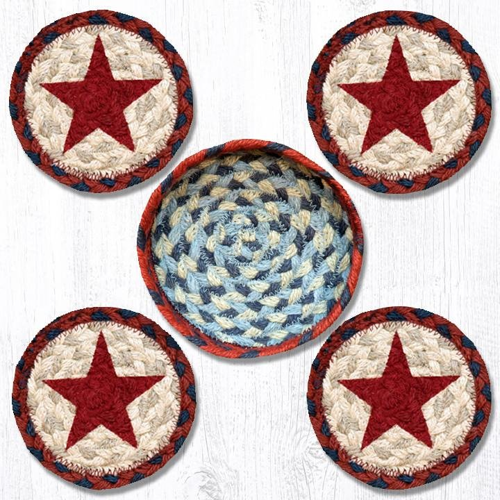"""Red Star Braided Coasters in a Basket 5""""x5"""" Set of 4"""