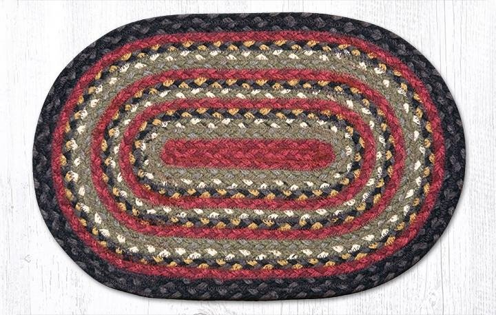 """Burgundy/Olive/Charcoal Oval Braided Swatch 10""""x15"""""""