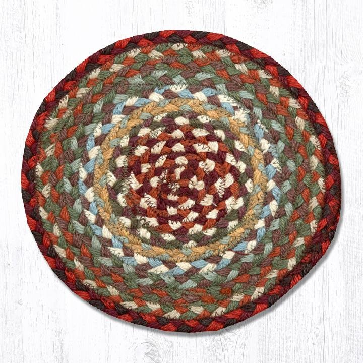 """Thistle Green/Country Red Round Braided Swatch 10""""x10"""""""
