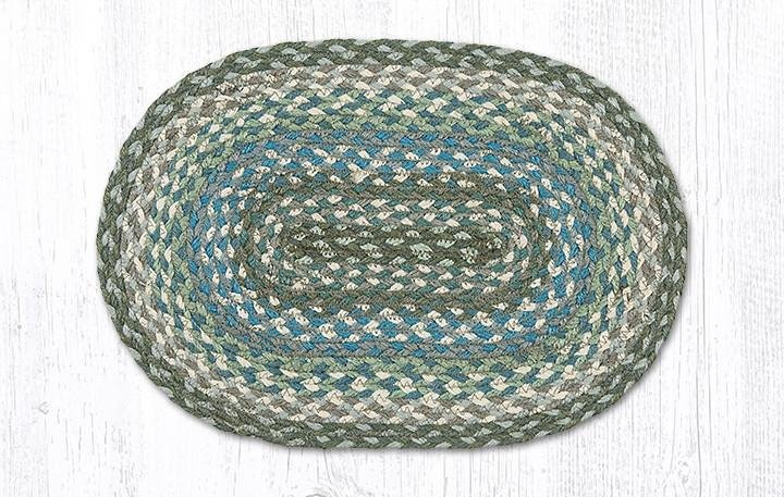 """Sage/Ivory/Settlers Blue Oval Braided Swatch 10""""x15"""""""