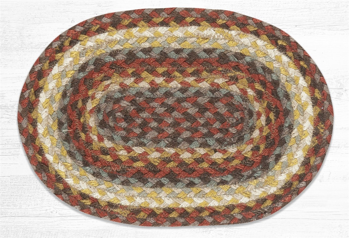 """Taupe/Golden Rod/Terracotta Oval Braided Swatch 10""""x15"""""""