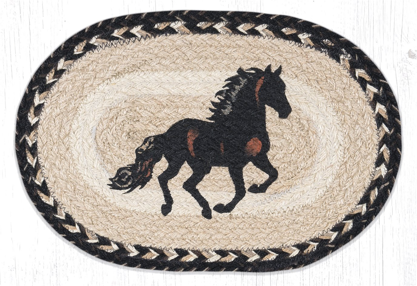 "Stallion Printed Oval Braided Swatch 10""x15"""