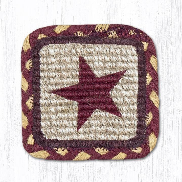 """Burgundy Star Wicker Weave Braided Swatch 10""""x15"""""""