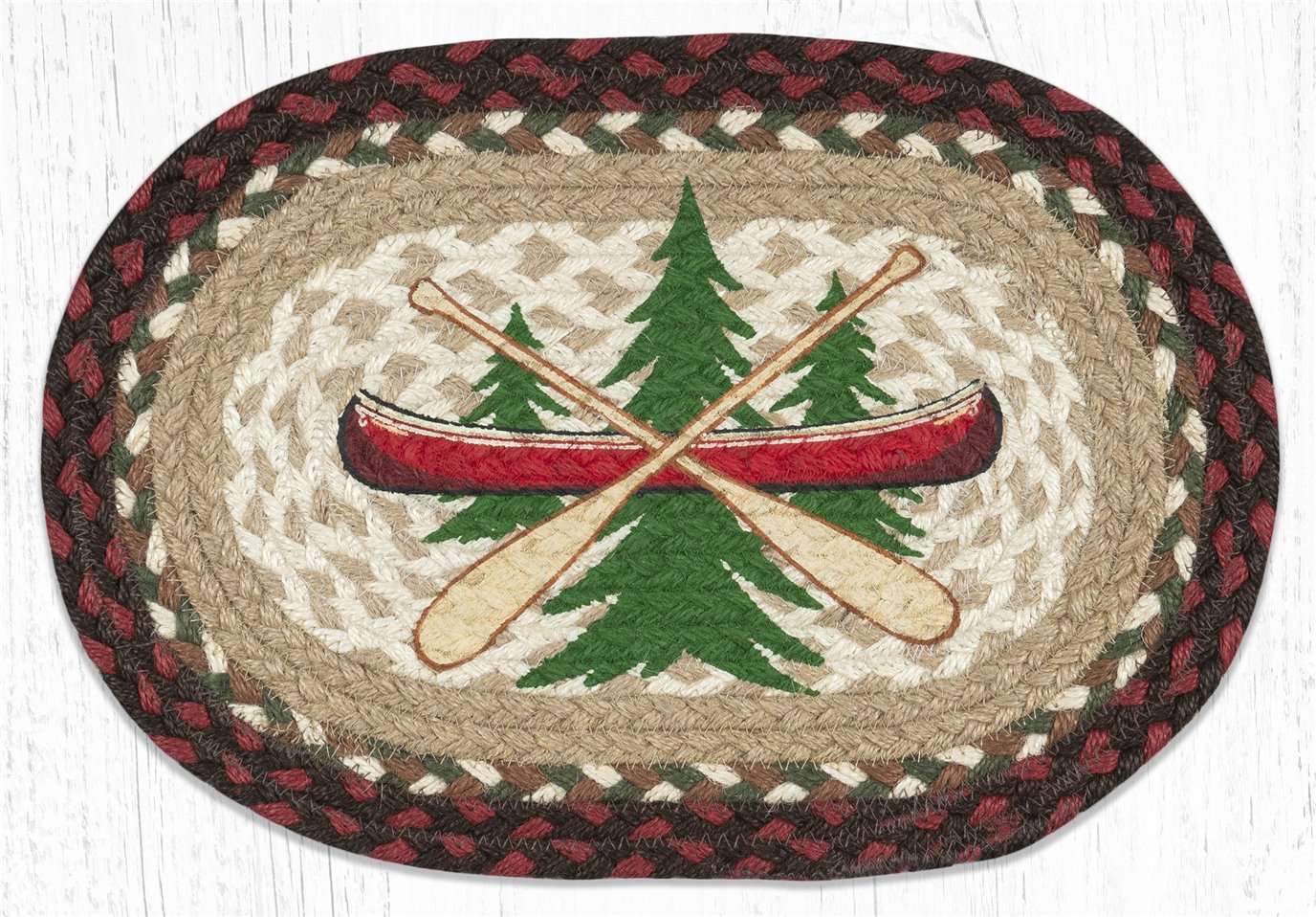 "Adirondack Canoe Printed Oval Braided Swatch 10""x15"""