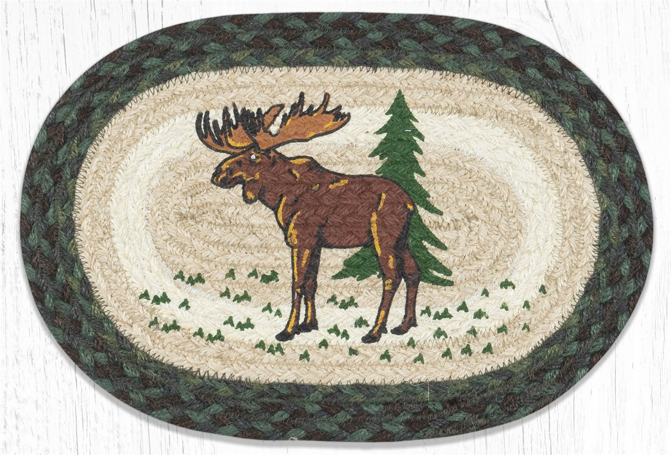 """Highland Moose Printed Oval Braided Swatch 10""""x15"""""""