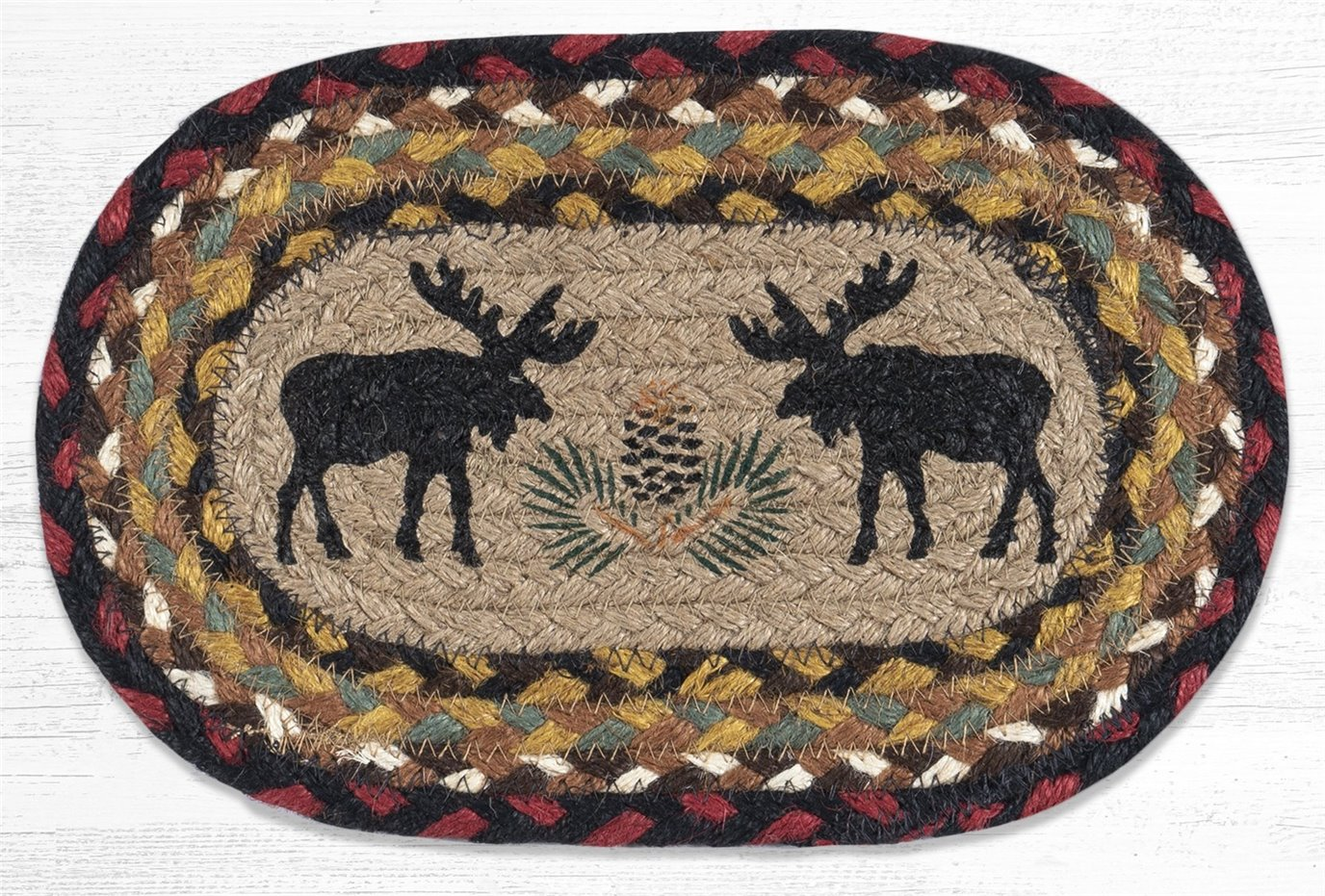 "Black Moose Printed Oval Braided Swatch 10""x15"""