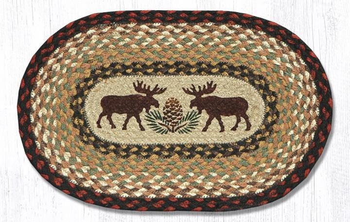 "Moose/Pinecone Printed Oval Braided Swatch 10""x15"""