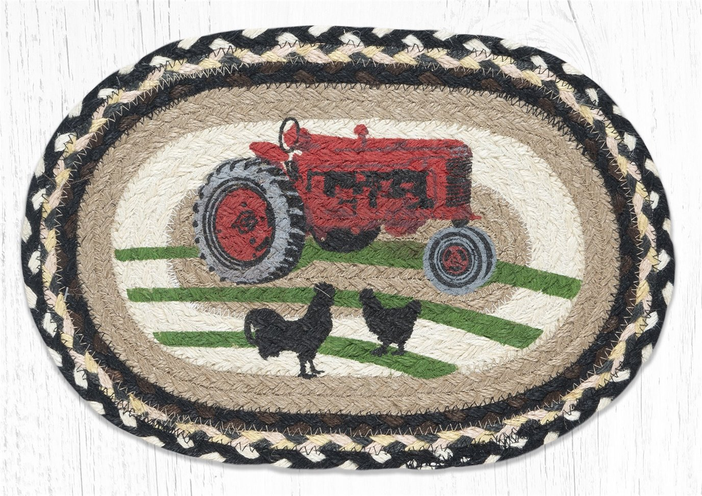 """Red Tractor Printed Oval Braided Swatch 10""""x15"""""""