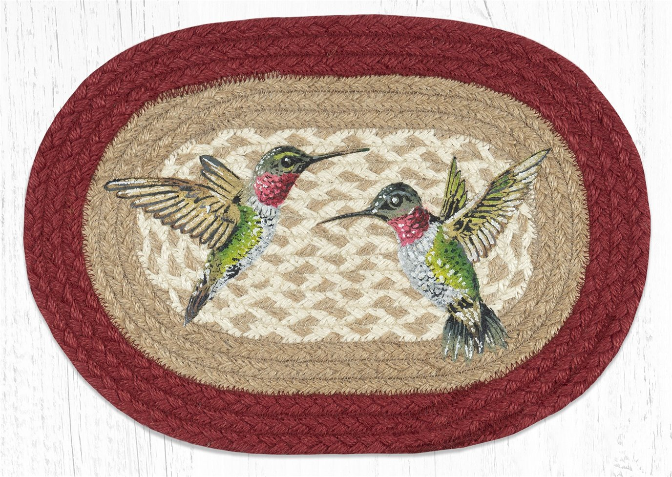 "Hummingbird Printed Oval Braided Swatch 10""x15"""