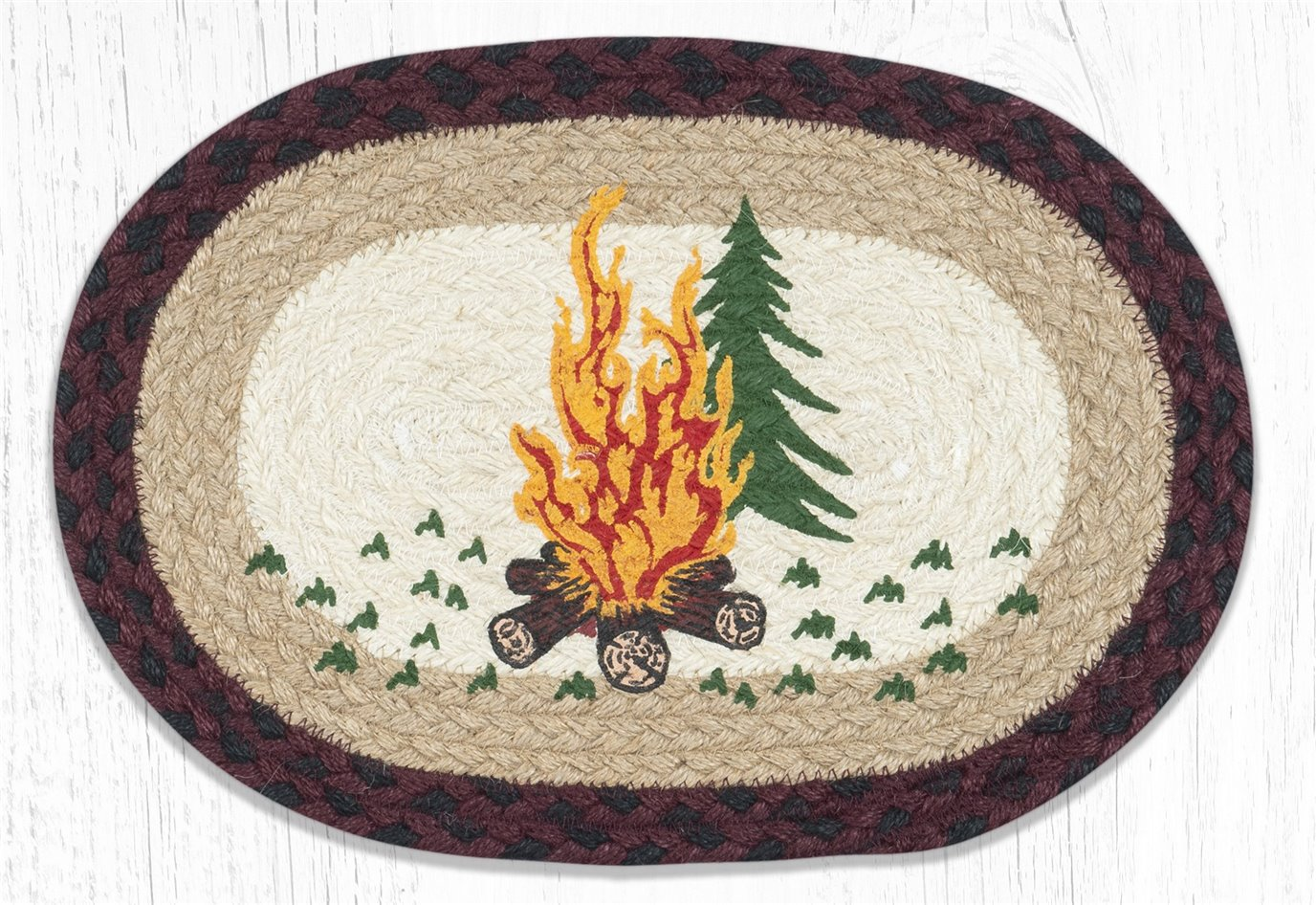 """Campfire Printed Oval Braided Swatch 10""""x15"""""""