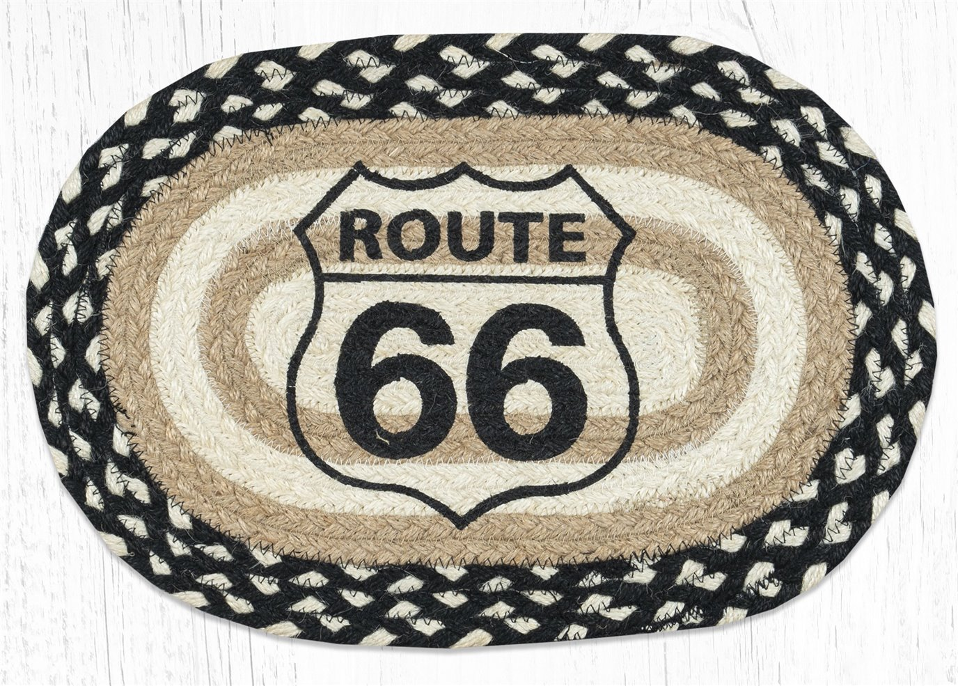 "Route 66 Printed Oval Braided Swatch 10""x15"""