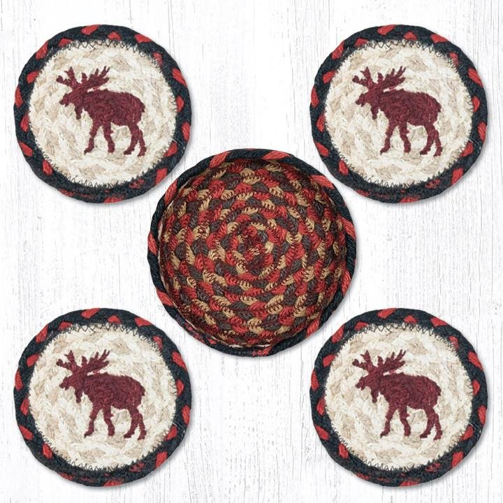 """Moose Braided Coasters in a Basket 5""""x5"""" Set of 4"""
