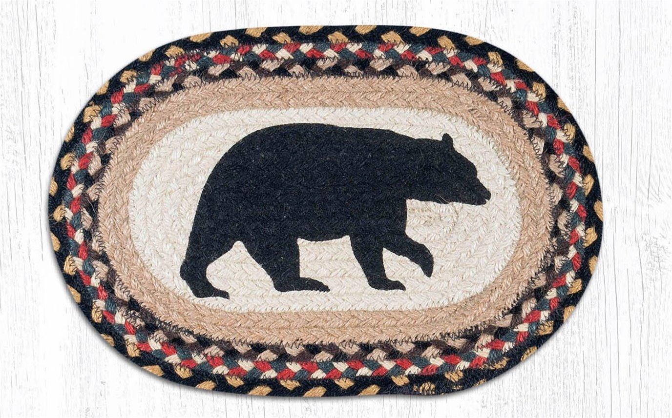 "American Bear Printed Oval Braided Swatch 10""x15"""
