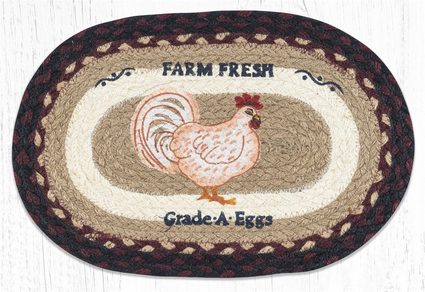"Farmhouse Chicken Printed Oval Braided Swatch 10""x15"""