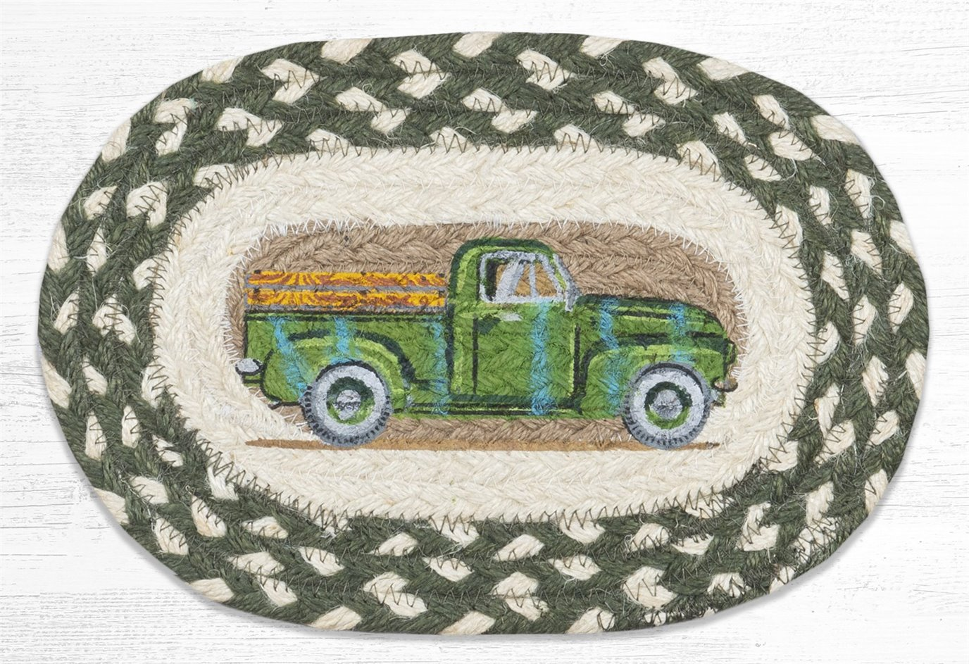 "Vintage Green Truck Printed Oval Braided Swatch 7.5""x11"""