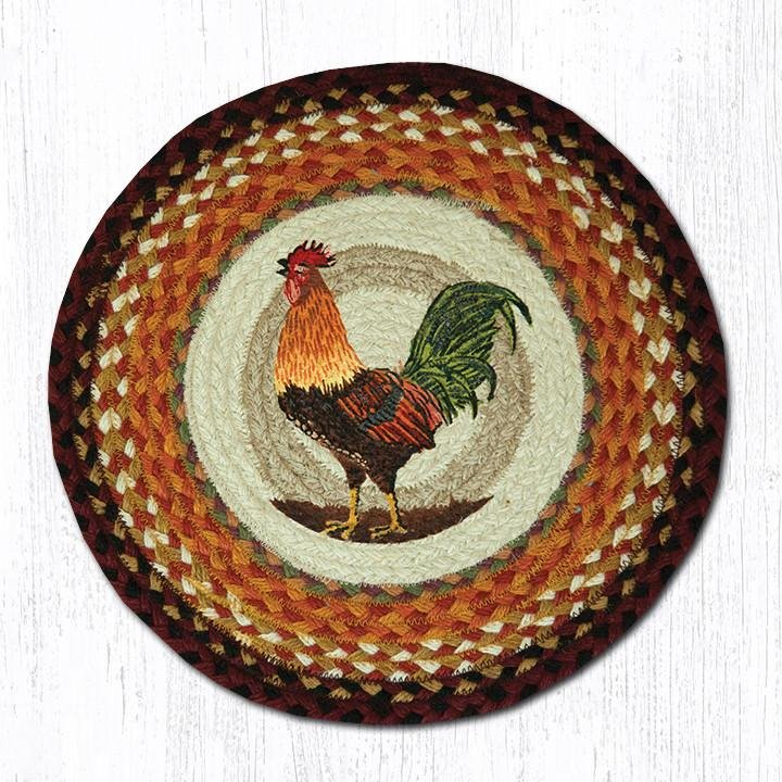 "Morning Rooster Round Braided Chair Pad 15.5""x15.5"""
