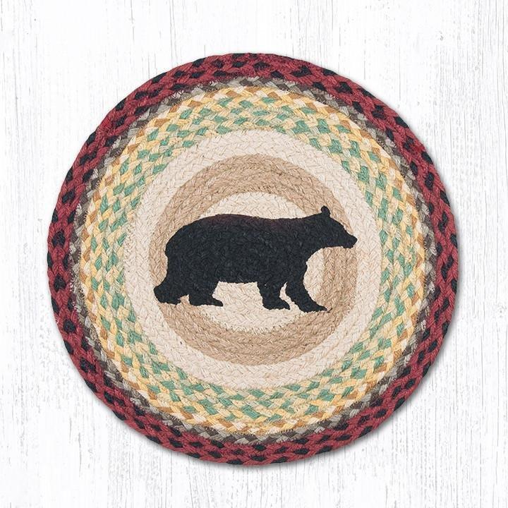 """Cabin Bear Round Braided Chair Pad 15.5""""x15.5"""""""
