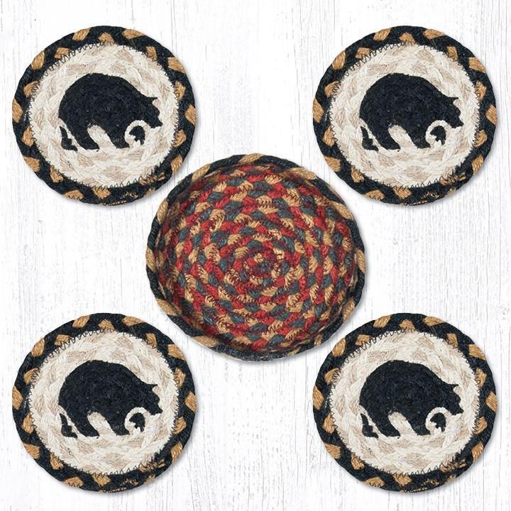 "Black Bear Braided Coasters in a Basket 5""x5"" Set of 4"